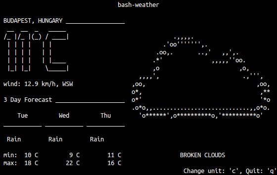 Weather report (bash-weather)